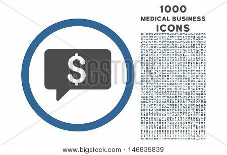 Money Message rounded vector bicolor icon with 1000 medical business icons. Set style is flat pictograms, cobalt and gray colors, white background.