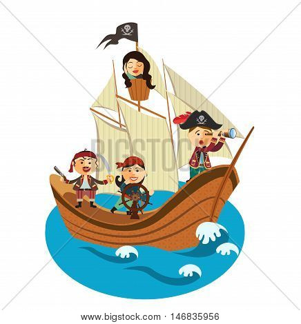 Pirate Ship. Happy pirates sailing in their pirate ship flat cartoon vector illustration. Eps10. Isolated on a white background.