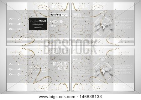 Vector set of tri-fold brochure design template on both sides with world globe element. Polygonal backdrop, connecting dots and lines, golden connection structure on white background. Science vector