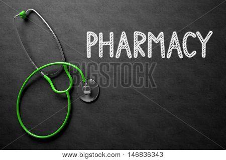 Medical Concept: Pharmacy Handwritten on Black Chalkboard. Medical Concept: Pharmacy on Black Chalkboard. 3D Rendering.