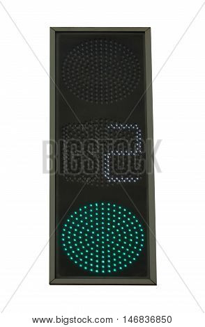 Green traffic light with with countdown of seconds (timer). Isolation on a white background