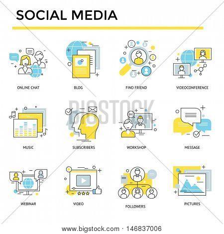 Social media concept icons, thin line, flat design