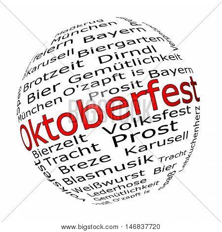 Oktoberfest wordcloud - in german - 3D illustration