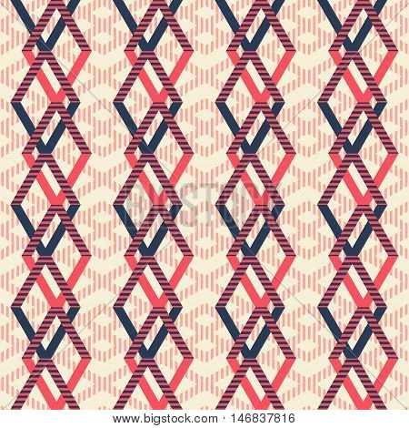 Abstract seamless geometric pattern of intertwined rhomboid shapes. Striped figures in pleasant retro color palette. Vector illustration for modern design