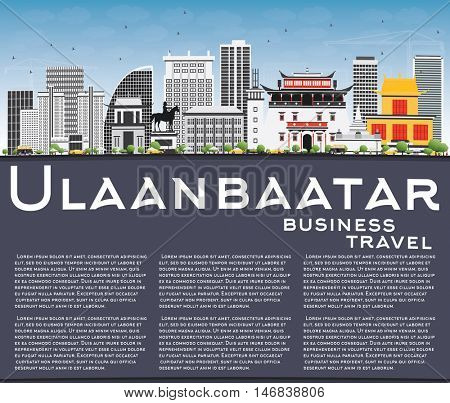 Ulaanbaatar Skyline with Gray Buildings, Blue Sky and Copy Space. Vector Illustration. Business Travel and Tourism Concept with Historic Buildings. Image for Presentation Banner Placard and Web.