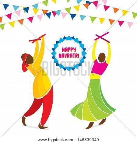 happy navrati festival celebration greeting design vector