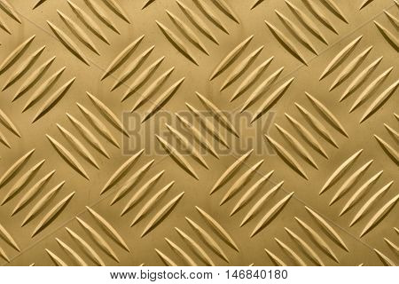 Aluminum plate with diamond shaped structure in golden color