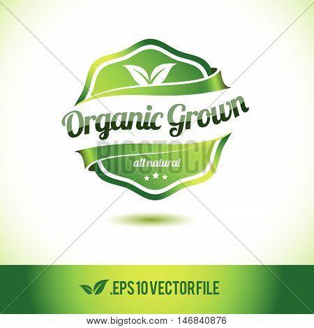 Organic grown badge label seal stamp logo text design green leaf template vector eps