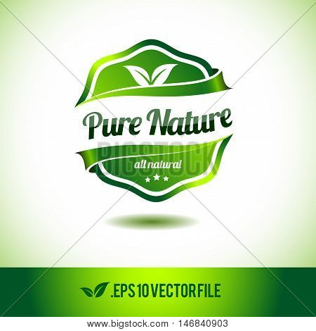 Pure nature badge label seal stamp logo text design green leaf template vector eps