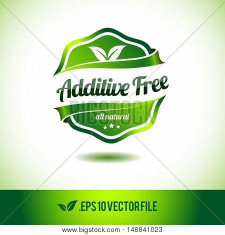 Additive free badge label seal stamp logo text design green leaf template vector eps