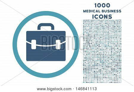Case rounded vector bicolor icon with 1000 medical business icons. Set style is flat pictograms, cyan and blue colors, white background.