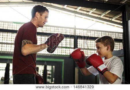 Boy Training Boxing Exercise Movement Concept
