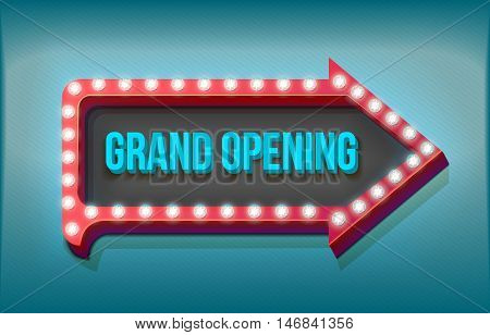 Retro arrow with neon lights. On a dark blue background 3d inscription Grand Opening. illustration