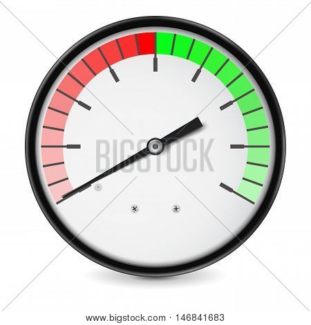 Measuring dial. Green red semi-circle scale. Vector illustration on white background