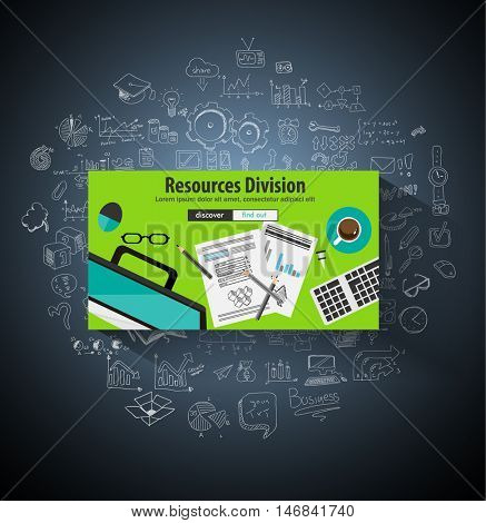 Business Resources Division concept  with Doodle design style :people inteview, skill testing, clear selection. Modern style illustration for web banners, brochure and flyers.