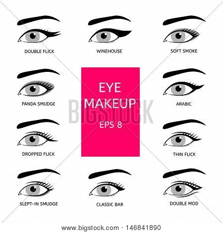 Types of eye makeup. Women's eyes on a white background