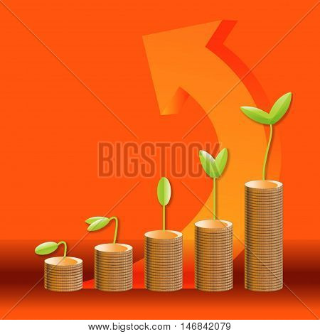 Business Growth Compare With Plants Growing Up On Coins