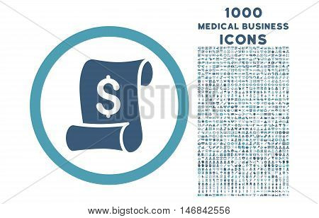 Financial Receipt Roll rounded vector bicolor icon with 1000 medical business icons. Set style is flat pictograms, cyan and blue colors, white background.