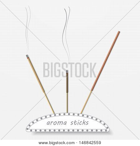 Aroma sticks on a gray background. Vector illustration.