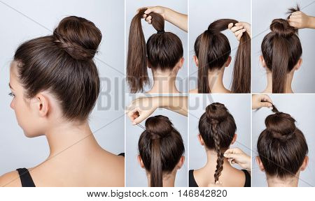 Hairstyle tutorial elegant bun with braid. Simple hairstyle twisted bun with plait tutorial. Hairstyle tutorial for long hair. Hairstyle bun. Tutorial. Hair model.
