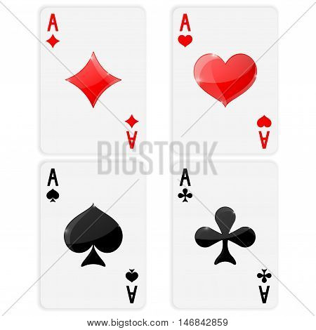 Playing cards. Ace of spades clubs hearts diamonds. Card suits. Vector illustration on white background