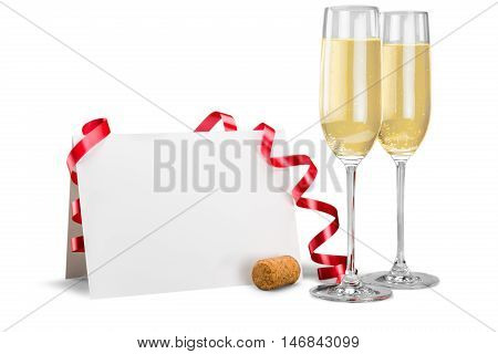 Champagne Flutes with Streamer and Blank Card