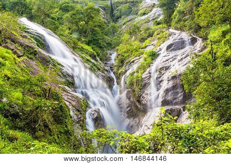 Heart-shaped waterfall. Pitugro waterfall locate in deep forest of Umpang Thailand.