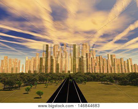 Road to city under alien sky  3D Render
