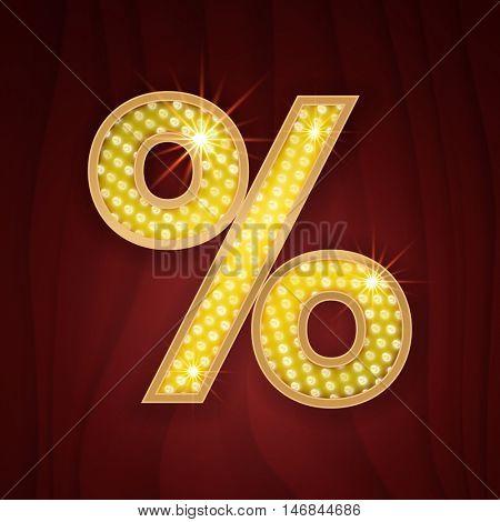 Gold light lamp bulb font Percent sign. Sparkling glitter design in style of vegas casino, burlesque cabaret and broadway show decoration. Shining symbols of alphabet set