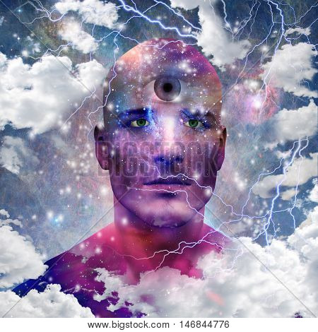 Star man with third eye  3D Render   Some elements provided courtesy of NASA