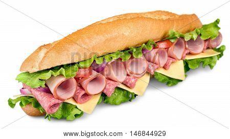 Footlong ham & swiss submarine sandwich isolated on white