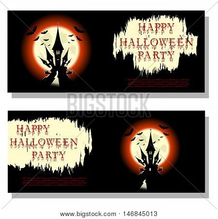 Halloween background: bats scary castle and bloody text in cartoon style on backdrop big moon. Concept design for banner poster invitation flyer or ticket on party. Vector illustration