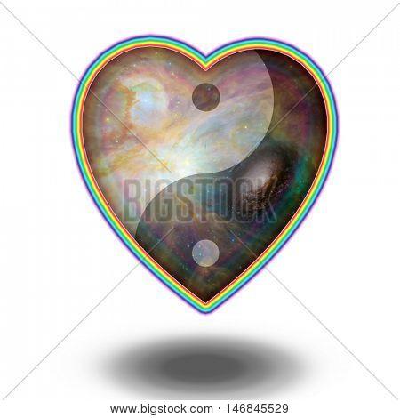 Yin Yang Heart  3D Render   Some elements provided courtesy of NASA