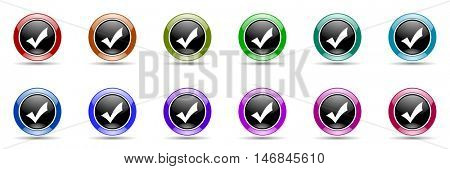 accept round glossy colorful web icon set