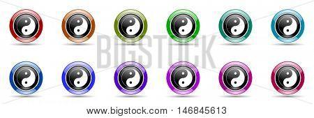 ying yang round glossy colorful web icon set