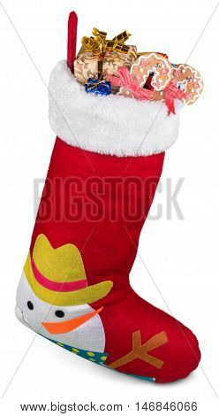 Christmas Stocking Full of Presents and Goodies