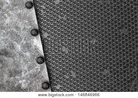 grunge metal background. rivet on white metal plate and black grille. material design 3d illustration.