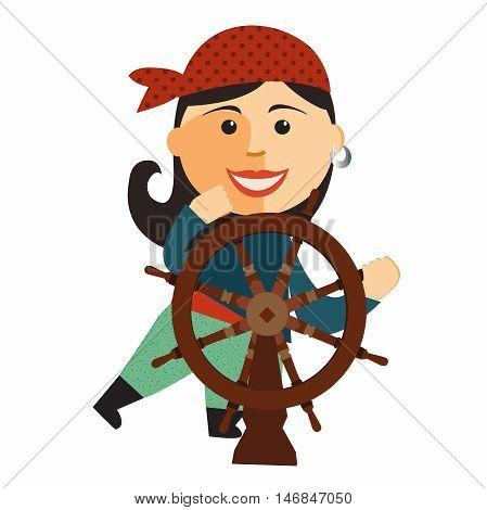 Cute pirate girl at the rudder flat cartoon vector illustration. Eps10. Isolated on a white background.