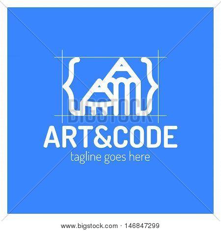 Two Pencil With Coding Symbol. Arrow Up Pen Design Studio.
