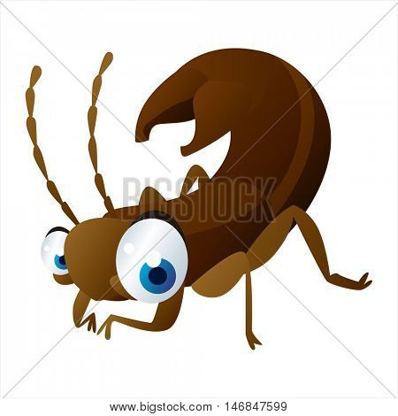 bright color cool cartoon illustration of insect. For logos or mascots. Earwig