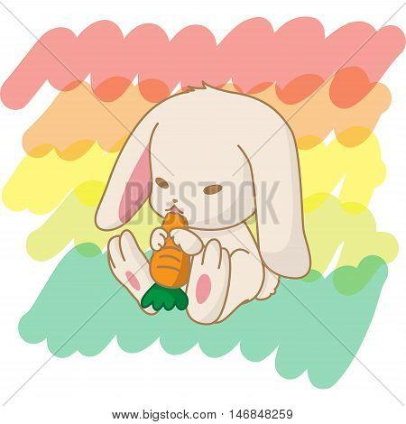 rabbit eat carrot; rabbit character; animal cartoon; animal illustration