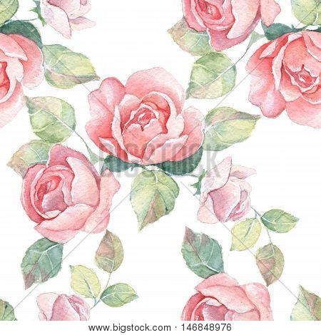 Floral branch. Watercolor seamless pattern 7.  Hand painted background with roses