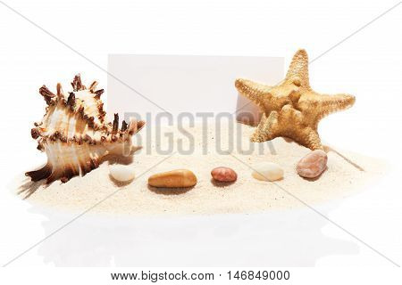 Blank White Visit Card, Starfish, Seashell And Stones On Sand