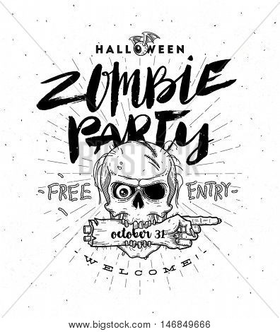 Halloween party poster with zombie head and hand - line art vector illustration with hand drawn brush calligraphy.