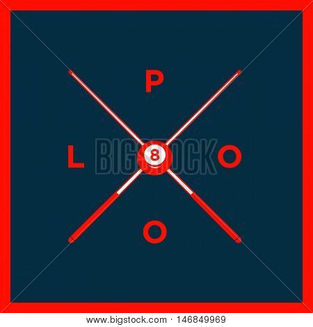 Billiard Or Snooker Poolroom Design For Sports, Leisure Or Club Logo Emblem Red