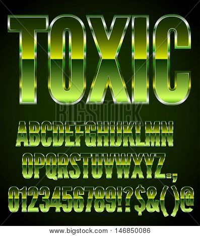 Vector Green Metal Toxic 80 s Action Movie Style Font Set