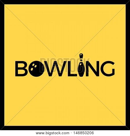 Skittles And Bowling Ball Logotype. Vector Emblem. Template Logo For T-shirts