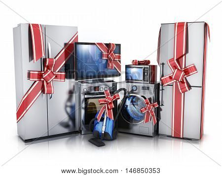 Gift modern consumer electronicsFridgewasher and electric-cooker (done in 3d rendering)