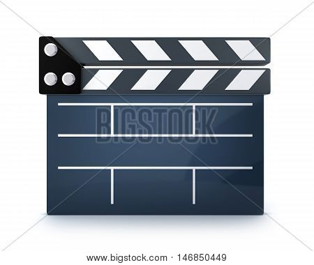 clap board symbol on white background (done in 3d rendering)