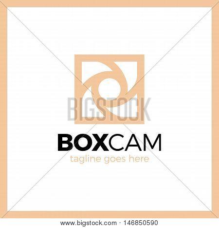 Square Camera Shutter Logo - Box Photo Colorful Style